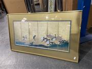 Sale 9050 - Lot 2058 - Decorative Print of a Japanese Silk Screen depicting Geese 49 x 87cm -