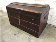 Sale 9056 - Lot 1071 - Vintage Timber and Leather Bound Travelling Trunk (H:60 W:92 D:51cm)