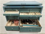 Sale 9076 - Lot 1010 - Vintage timber cased dental cabinet with multiple drawers and tools