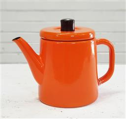 Sale 9151 - Lot 1078 - Post modern Japanese orange enamel kettle for Noda Horo, mark to base (22cm)