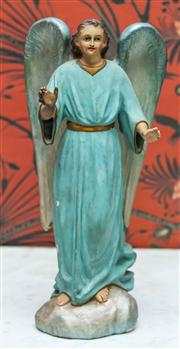 Sale 8222 - Lot 16 - A painted timber figurine of an angel, H 40cm, ex Romeo and Juliet
