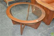 Sale 8275 - Lot 1096 - G-Plan Circular Teak Atmos Coffee Table with Glass Top