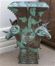 Sale 8800 - Lot 194 - A Chinese bronze vessel with rams head decoration, H 45 x W 50cm