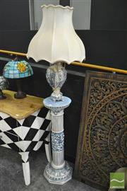 Sale 8361 - Lot 1003 - Blue And White Classical Pedestal With Matching Lamp