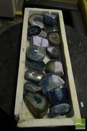 Sale 8499 - Lot 1654 - Tray of Blue Agate Base Cut Ends