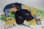 Sale 8508 - Lot 6 - Americas Cup Postage Stamps with others inc Commemorative Coins and Olympic Hats and T Shirt