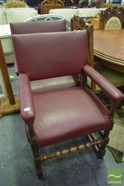 Sale 8523 - Lot 1058 - Pair of Leather Clad Carver Chairs with Studded Detail
