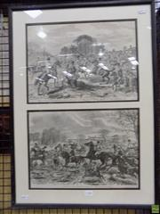 Sale 8563T - Lot 2232 - 2 Works: Timber Framed Her Majestys Duck Hounds Prints by John Leech, 25 x 35cm