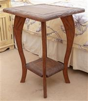 Sale 8990H - Lot 60 - A carved teak occasional/ lamp table with lower shelf  Height 63cmx Width 45cm x Depth 43