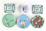 Sale 8985 - Lot 4 - Group of 3 cloisonne dishes together with enamelled dishes and eggs