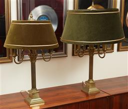 Sale 9097H - Lot 48 - A graduated pair of column form lamps, one two the other four branch with olive velvet green shades, Height of taller 80cm