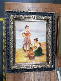Sale 9127 - Lot 2094 - A. Claudie  Pippi Gatherers oil on board, frame: 50 x 60 cm,