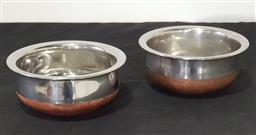 Sale 9171 - Lot 1073 - Pair of mid century modern waisted copper and silvered finish bottle coasters (d:15cm)
