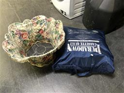 Sale 9176 - Lot 2183 - Quilt in Bag, Franklin Heirloom Porcelain Doll and a Floral Lamp Shade