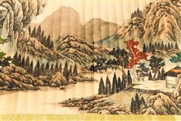 Sale 9190H - Lot 183 - A Chinese scroll of mountain and river scene stamp marks to edge Length 340cm