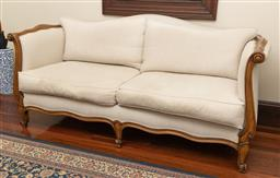 Sale 9260M - Lot 59 - A French style double ended sofa, well upholstered with double piping borders and down filled cushions H 85cm W 192cm D 86cm