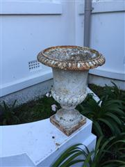 Sale 8098A - Lot 21 - A pair of Antique French white painted cast iron garden urns