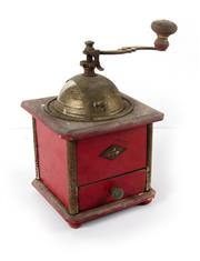 Sale 8224A - Lot 83 - A vintage French coffee grinder with original red paint by 'Peugeot', height 23 cm