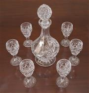 Sale 8338A - Lot 127 - A Bohemian crystal decanter and six glasses, H 34cm