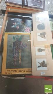 Sale 8446 - Lot 2099 - St Davids Private Hospital Album, Self Portrait While Under the Influence of LSD Painting & Animal Prints