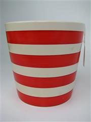 Sale 8451B - Lot 10 - Ceramic Vase with red stripes