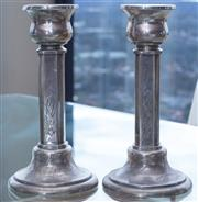Sale 8593A - Lot 13 - A pair of Yenson, Chinese, silver candle sticks engraved with bamboo motif, H 19cm