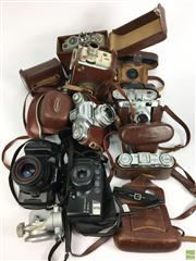 Sale 8648A - Lot 37 - Collection of Cameras incl Voigtlander & Mamiya Tripod