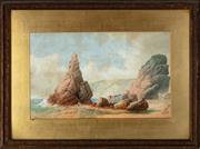 Sale 8818A - Lot 18 - BJ S PerryDRI Rowers at ShoreDR watercolourR 30 x 49cmR signed and dated lower right 1889, heavy foxing