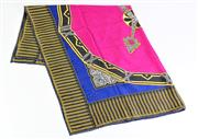 Sale 8879 - Lot 360 - A CARTIER JACQUARD SILK CLOCK SCARF; designed as a bejewelled clock face in pink and blue over jacquard jewellery designs, with roll...