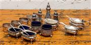 Sale 8942H - Lot 25 - A quantity of silver plated dinner wares including cruets, salts, peppers, mustards, spoons, napkin rings