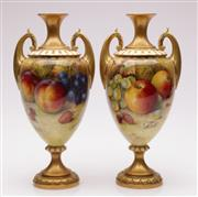 Sale 9064 - Lot 1 - Pair of Royal Worcester Twin Handled Vases by Richard Sebright Featuring Hand Painted Fruits (H29.5cm)