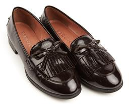 Sale 9091F - Lot 249 - A PAIR OF YARGICI LOAFERS, in chocolate patent leather, size 36