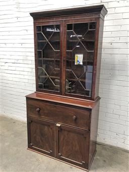 Sale 9126 - Lot 1002 - Late Georgian Mahogany Secretaire Bookcase, with two astragal panel doors, the fitted secretaire with green baize writing surface, a...