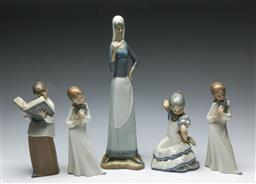 Sale 9164 - Lot 185 - A group of Spanish made porcelain figures (5) (H:34cm to 20cm)
