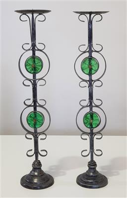 Sale 9188 - Lot 1122 - Pair of vintage cast metal and glass bullseye pricket candlesticks (h:59cm)