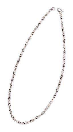 Sale 9213 - Lot 375 - A STERLING SILVER FANCY LINK CHAIN; spiral links to a scroll clasp, length 56cm, wt. 31.33g.