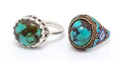 Sale 9246J - Lot 320 - TWO SILVER AND STONE SET RINGS; Chinese filigree silver ring with turquoise, blue and purple enamel, width 17mm, size J, other with...