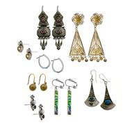 Sale 8173F - Lot 355 - EIGHT PAIRS OF SILVER EARRINGS; 5 pairs of drops, a pair hoops and 2 pairs of studs (missing butterflies). Wt. 45.7g.