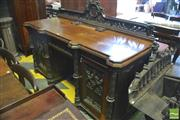 Sale 8390 - Lot 1073 - Good Victorian Carved Oak Gothic Sideboard with pierced back above single drawer and 2 carved tracery panel doors flanked by columns