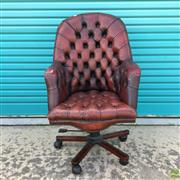 Sale 8649R - Lot 172 - Antique Styled Chesterfield Leather Buttonback Armchair with Modern Base and Castors (H: 116cm)