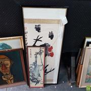 Sale 8636 - Lot 2053 - 2 Framed Chinese Paintings, 1 Frame A/F, glass broken