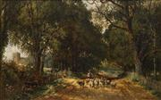Sale 8704 - Lot 583 - Thomas James Soper (1836 - 1890) - Shephard and his Herd, 1857 57 x 89cm