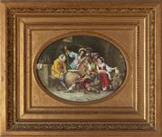 Sale 8818A - Lot 19 - BJ PascqultDRI Courtiers Playing ChessDR oil on tileR 27 x 36cmR SLR
