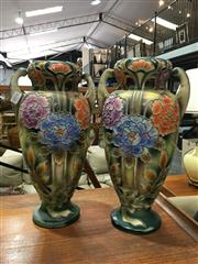Sale 8851 - Lot 1034 - Pair of Hand Painted Vases