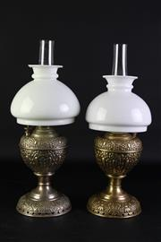 Sale 8852 - Lot 10 - A Mismatched Pair of Small Vintage Miller Lamps with Shades