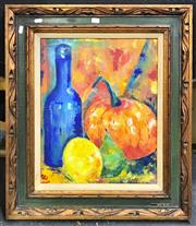 Sale 8945 - Lot 2075 - Artist Unknown - Blue Bottle, Pumpkin and Fruit acrylic, 71.5 x 61 cm(frame), signed -