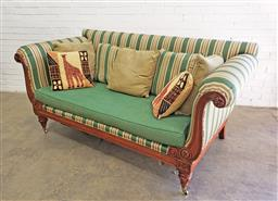 Sale 9097 - Lot 1081 - Ralph Lauren 19th Century Style Settee, the carved lyre frame, upholstered in striped green/cream fabric, with plain green seat cush...