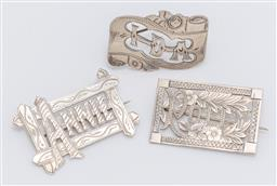 Sale 9180E - Lot 83 - A group of three sterling silver name brooches for Annie, Ida, and Polly, total weight 25.5g