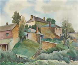 Sale 9170A - Lot 5041 - JOHN ELDERSHAW (1892 - 1973) Country Houses watercolour 35 x 42 cm (frame: 63 x 69 x 4 cm) signed lower right