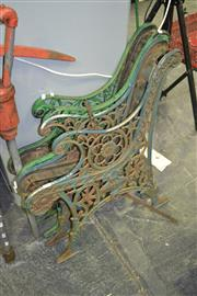Sale 8105 - Lot 1065 - 2 Pairs of Iron Bench Ends